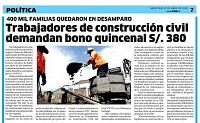 Demandamos bono quincenal S/ 380